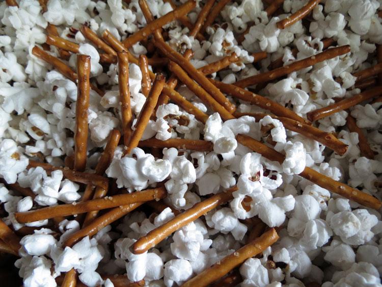 pretzels and popcorn