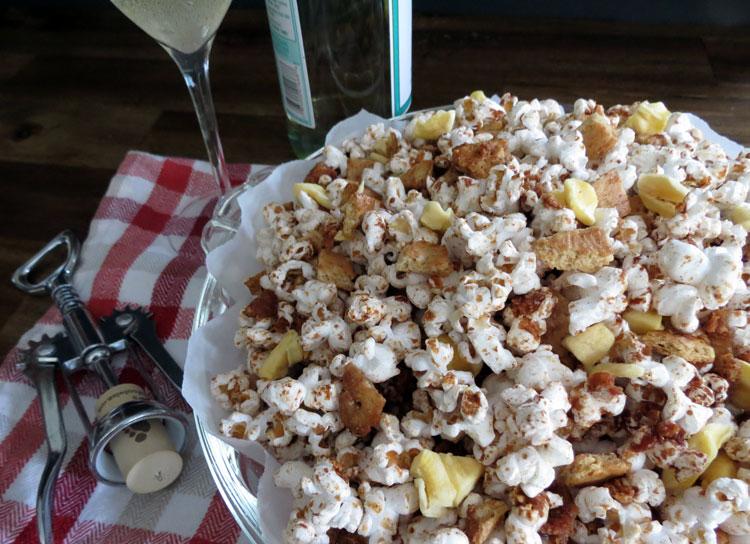 wine and popcorn